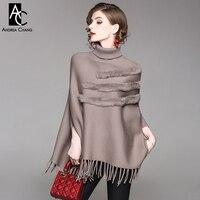 autumn winter woman sweater khaki brown gray red knitted cape cloak tassel bottom rabbit fur vintage loose sweater cloak cape