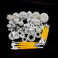 Baking Tools 14 Styles 46 PCS Set Fondant Cake Mold Suit Plastic Spring Embossing Molds Cookie