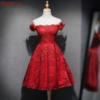 Sexy Red Short Lace Cocktail Dresses Off Shoulder Homecoming Womens Prom Coctail Dress for Party jurk vestidos de coctel renda