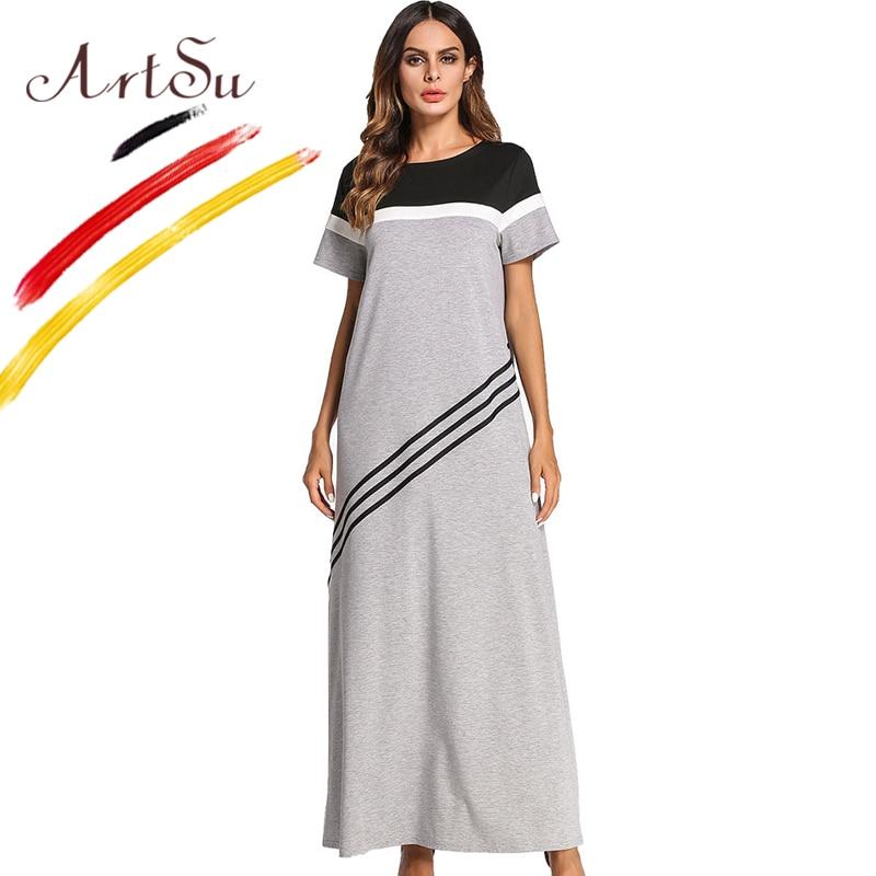 ArtSu Women O Neck Short Sleeve Summer Dress Black White Grey Color Block Striped Maxi Dress Casual A Line Robe Mujer Plus Size