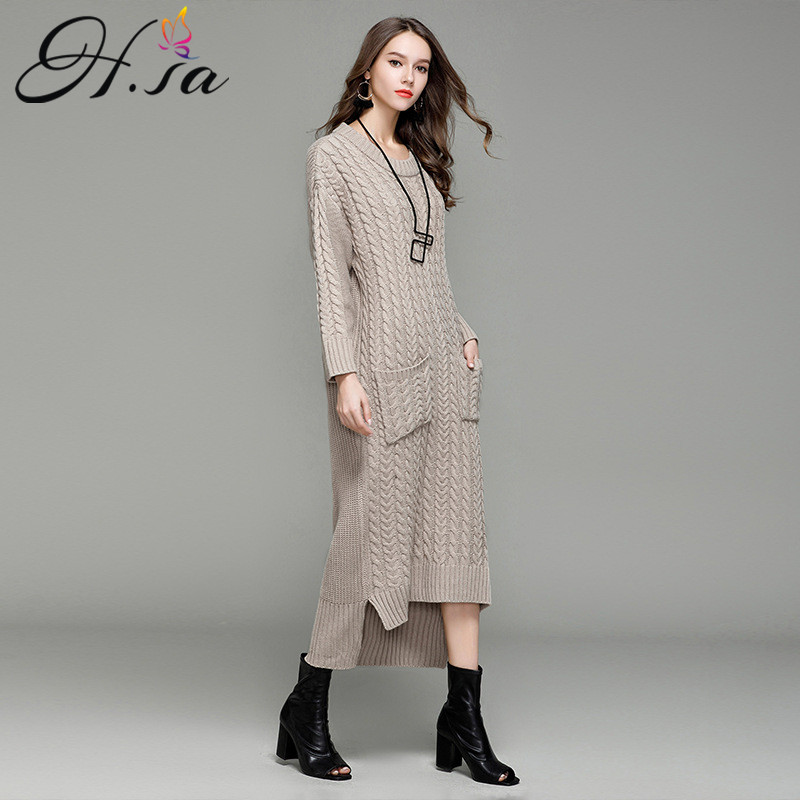 e250a275f24 H.SA 2017 Fall Fashion Women Long Sweater Dress O neck Pocket Long Maxi  Knitted Pull Jumpers Twist Pullovers England Style unif-in Pullovers from  Women s ...