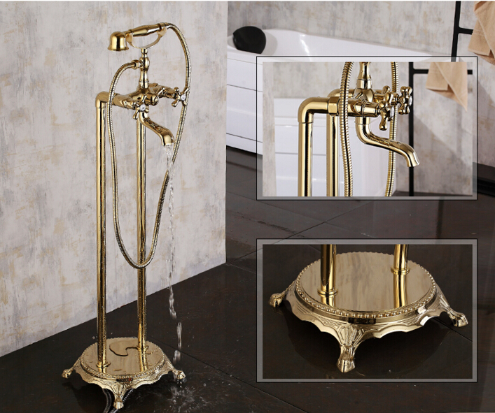 high quality Europe style Luxury brass Classic gold plating floor decked Bathtub Faucet set bathroom mixer tap