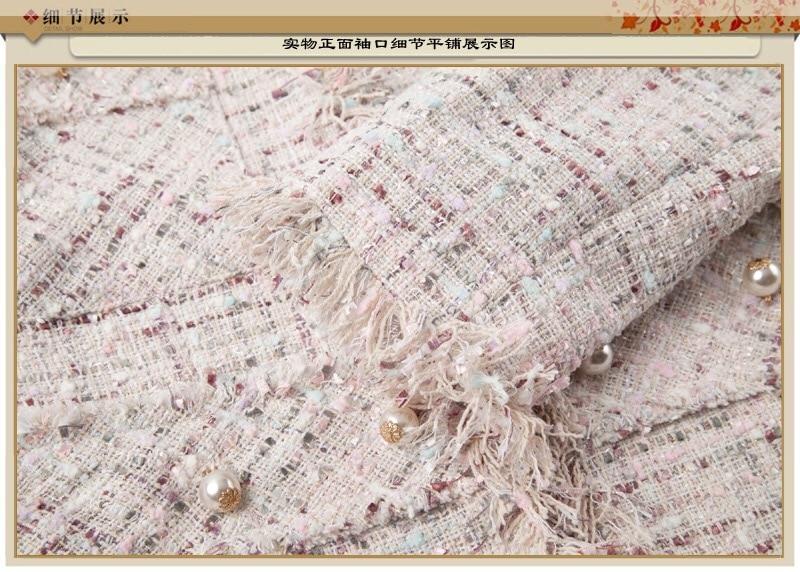 Élégant 2019 Manteau Couture Haute Veste Beige Lady Gland Vintage Tweed Office Classique Automne Perle Survêtement Hiver Chan EppwC4qU