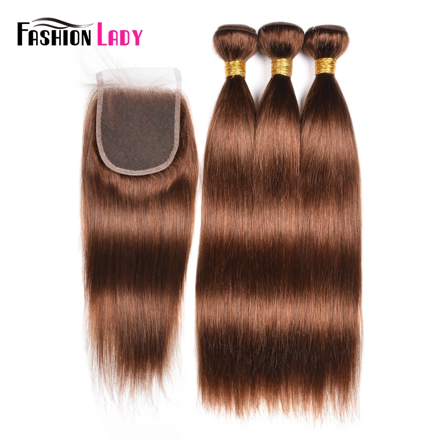 Fashion Lady Pre-Colored 3 Bundles With Closure Straight Peruvian Human Hair 4# Brown Hair Bundles With Closure Non-Remy