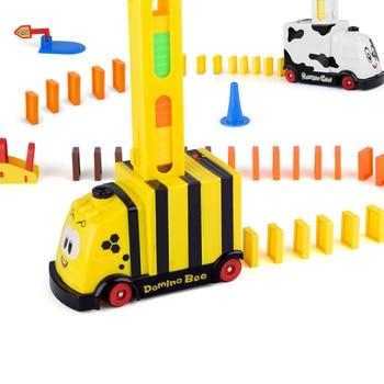 Children educational building blocks toy domino train lift trampoline bridge bricks catapult automatic electric toy car