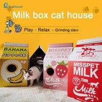 DIY pet house milk box cat scratch board cat litter corrugated paper cat box folding toy house Grinding claw