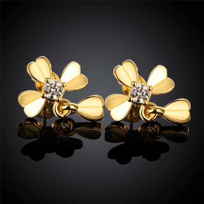 24k Yellow Gold Rose Pt950 White Color Stud Earrings For Women Four Hearts Shaped With Cz Stone Earring Kzce022 In From Jewelry