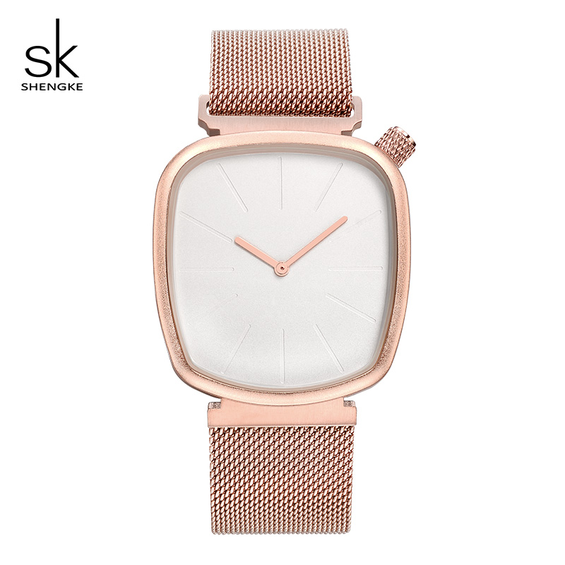 Shengke Rose Gold Watches Women Creative Dial Ladies Wrist Watch Reloj Mujer 2019 New Stainless Steel Watches For Women #840