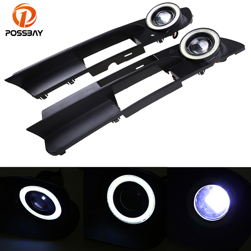 POSSBAY White Angel Eyes Fog Light for BMW 5-Series E60 Sedan 2003-2007 Pre-facelift LED Auto Halo Rings Fog Lights Cover Grille free shipping cree white no obc 9006 led fog light bulb for bmw e60 bmw 5 series 2003 2007