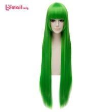 L email Peluca de animación para Cosplay, pelo sintético largo y liso, color verde, 100cm/39,37 pulgadas
