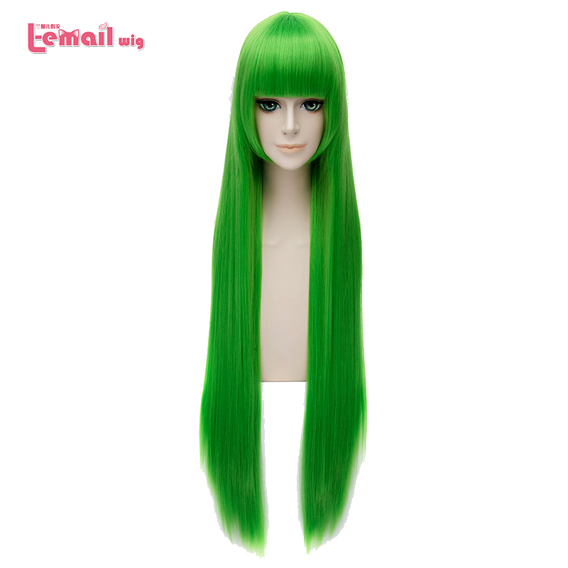 L-email Wig New Animation 100cm/39.37inches Cosplay Wigs Green Long Straight Synthetic Hair Perucas Cosplay Wig