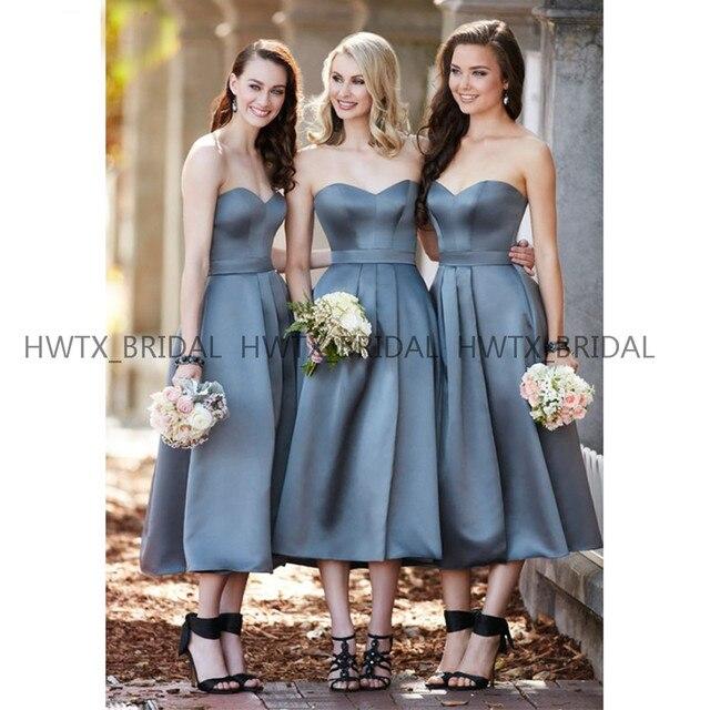 4bf907309 Barato corto vestidos de dama honor 2019 cariño té longitud satinado una  línea invitado vestido boda para las mujeres Robe demoiselle d'honneur