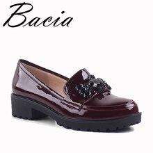 Bacia/цвет красного вина из натуральной нешлифованной кожи Туфли без каблуков медведь бусинами из лакированной Пояса из натуральной кожи Обувь Высокое качество Женские повседневные туфли на плоской подошве SA007
