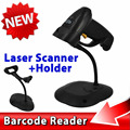 2015 New 1Set Handheld POS USB Laser Barcode Scanner Bar Code Reader Gun With USB Cable + Stand Holder For PC
