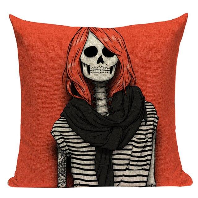 2018 nouveaux coussins de crâne rouge pour canapé voiture coussins décoratifs personnalisés Halloween jour lin impression housse de coussin