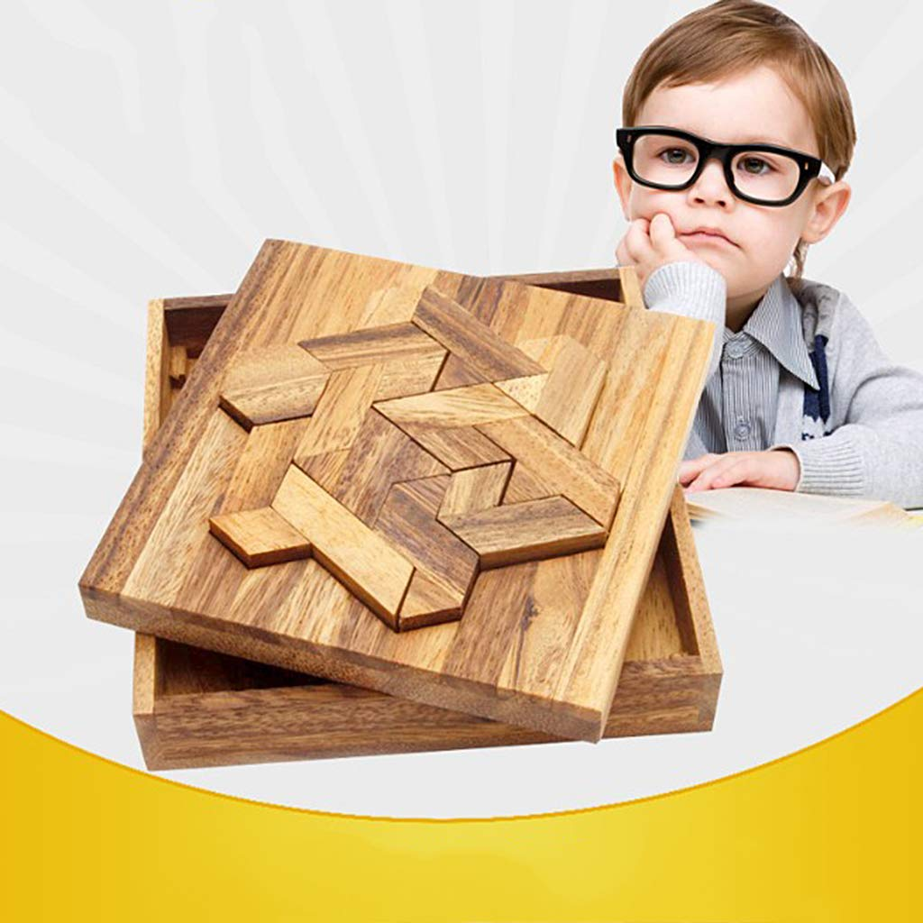 3D Puzzle Wooden Kongming Lock Intelligence Game Brain Teaser Fun IQ Test Educational Toys Gift for Children Adults