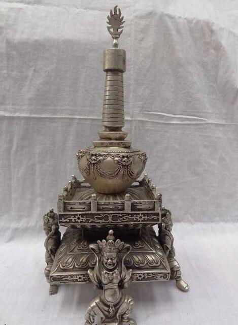 """16"""" China Silver Lion Head Tibet Shakyamuni Mahakala Buddha Statue Stupa Tope free shipping"""