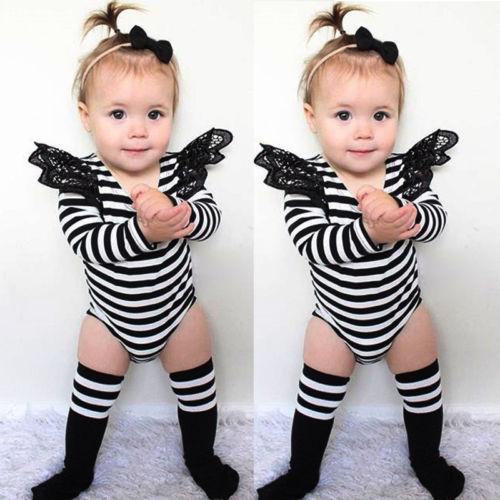 2016 תינוקות שזה עתה נולדו בגד גוף תינוקת בגד גוף חמוד תחרה בגד גוף שרוול ארוך פסים בגדים לפעוטות תלבושות שמלת ים