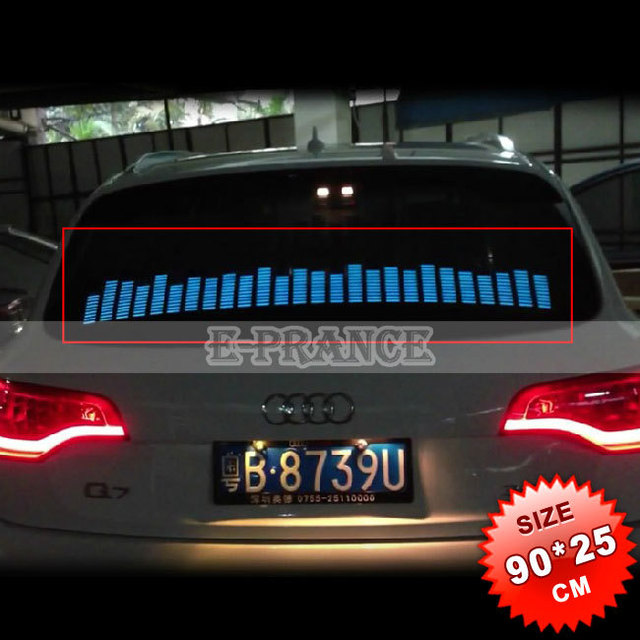90cm*25cm Car Music Rhythm Sticker Sound Music Activated Equalizer  LED EL Sheet Light Lamp Free Shipping #CLED002