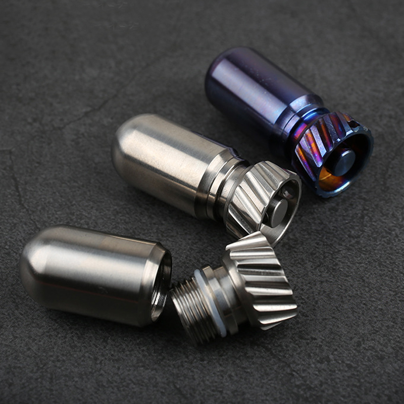 Titanium Alloy Waterproof Canister Medicine Seal Capsule Bottle Mini EDC Bottle Outdoor Camping Tool No Magnetic Light Weight
