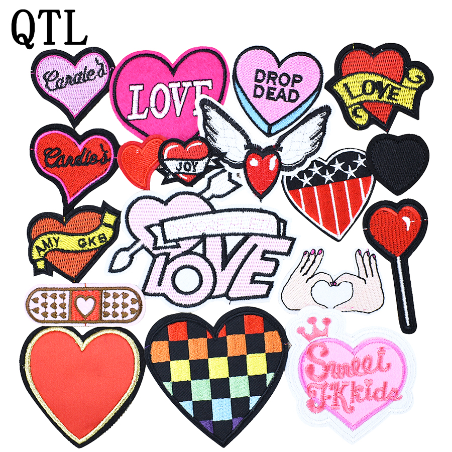 Firing heart love art badge Iron on Sew on Embroidered Patch applique