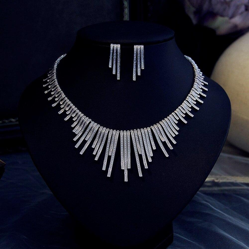 밝은 점화 플러그 큐빅 지르콘 귀걸이 목걸이 무거운 저녁 sst 웨딩 웨딩 드레스 액세서리-에서보석 세트부터 쥬얼리 및 액세서리 의  그룹 2