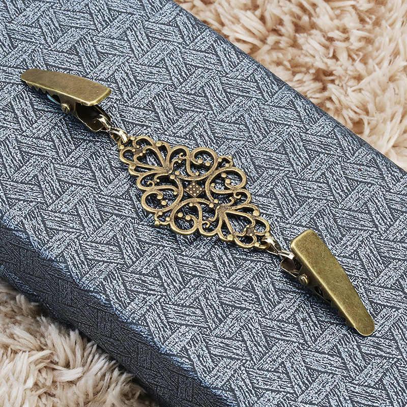 Clips de pato de Color dorado con cuentas flexibles broche Pin chal camisa suéter cárdigan cuello Clip hebillas ropa 8C1157