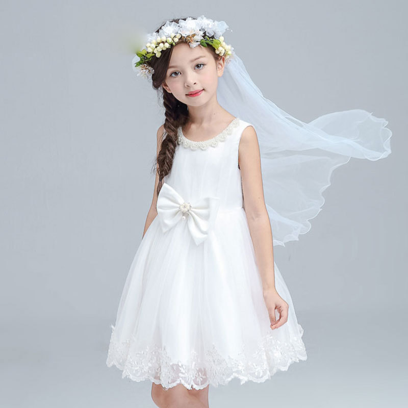 2017 New Tulle Girls Dress Vintage Fashion Summer Party Wedding Princess Kids Toddler Bow White Dresses Children Clothing 13 14