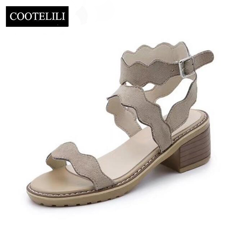 COOTELILI 35-39 Fashion Wave High Heels Gladiator Sandals Shoes Woman Buckle Strap Flock Leather Women Summer Shoes For Ladies women pumps flock high heels shoes woman fashion 2017 summer leather casual shoes ladies pointed toe buckle strap high quality