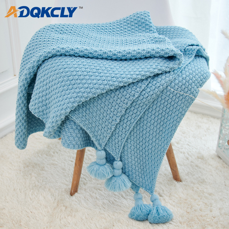 ADQKCLY Nordic Knitted Air Condition Blanket 130 170cm Tassel Ball for Child Bed Plane Travel Towel