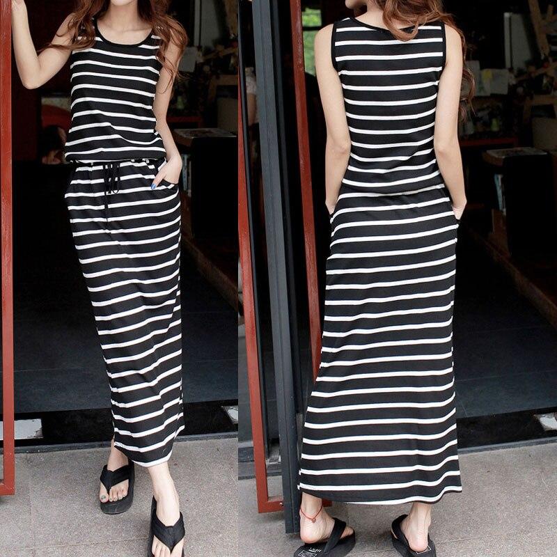 Fashion New Bohemia Style Full Dress Fashion Stripe Long