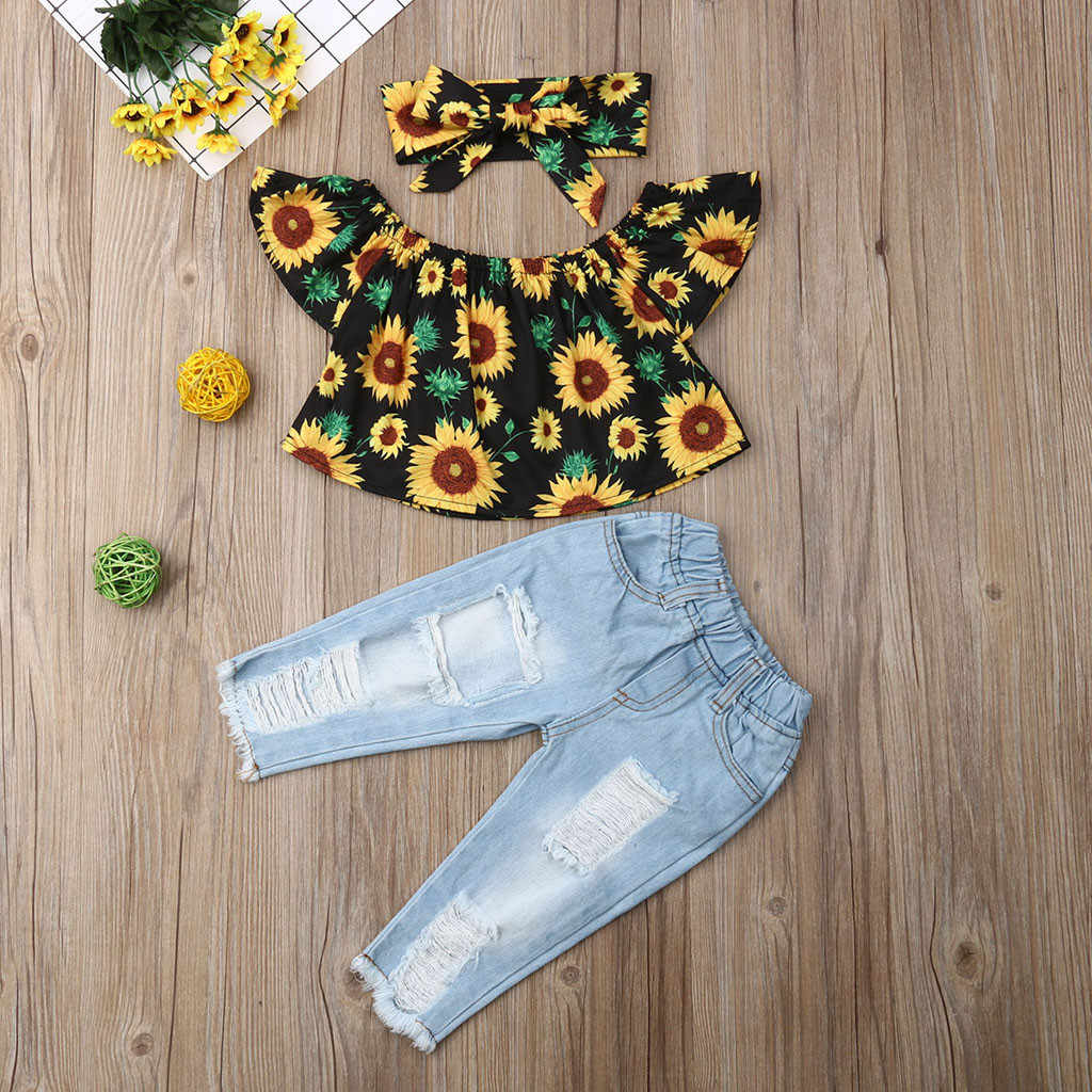 Toddler Baby Girl Kid Off Shoulder Sunflowers Tops+Denim Pants Sets 3Piece Child Clothes Infant Outfits 1-4 years Birthday Suit
