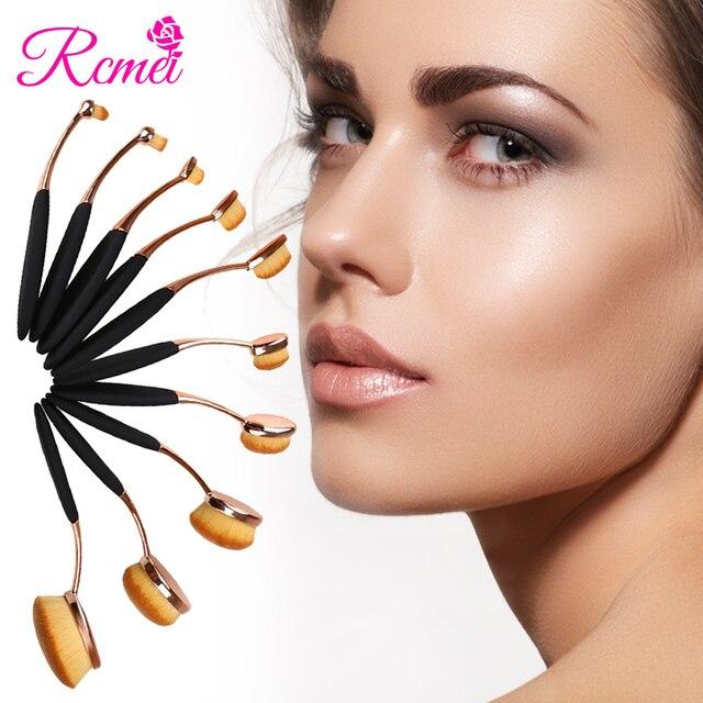 Componen Cepillos de Dientes Forma Oro Rosa 10 Unids/set Powder Foundation Brush Oval Cepillo De Maquillaje Profesional Polivalente