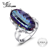10ct Luxury Concave New Genuine Mystic Blue Rainbow Topaz Cocktail Ring Solid 925 Sterling Silver