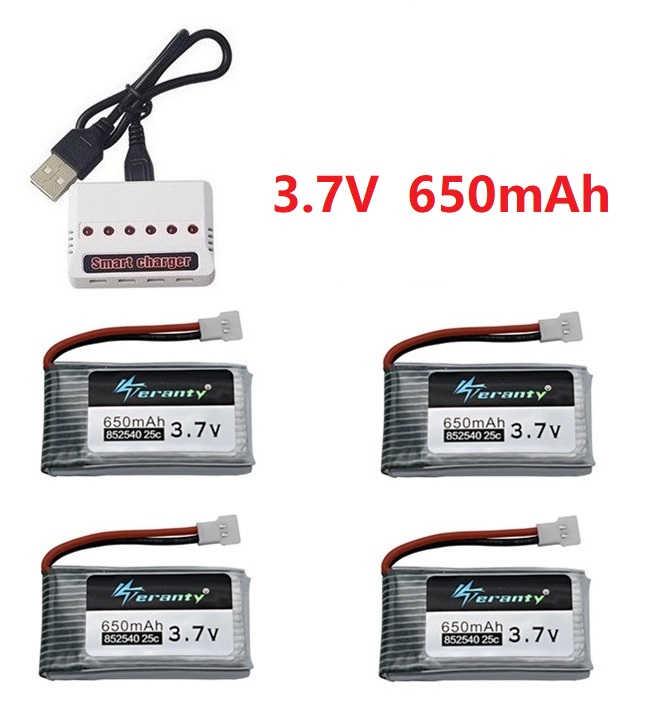Teranty 電源 3.7V 650 バッテリーと USB 充電器 Syma の X5C X5C-1 X5 H5C X5SW 852540 3.7V リポドローン充電式バッテリー