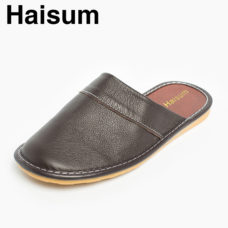 Men 'sslippers Spring And Autumn genuine Leather Home Indoor Non - Slip Thermal Slippers 2018 New Hot Haisum Tb008 men s slippers winter pu leather home indoor non slip thermal slippers 2018 new hot haisum h 8007