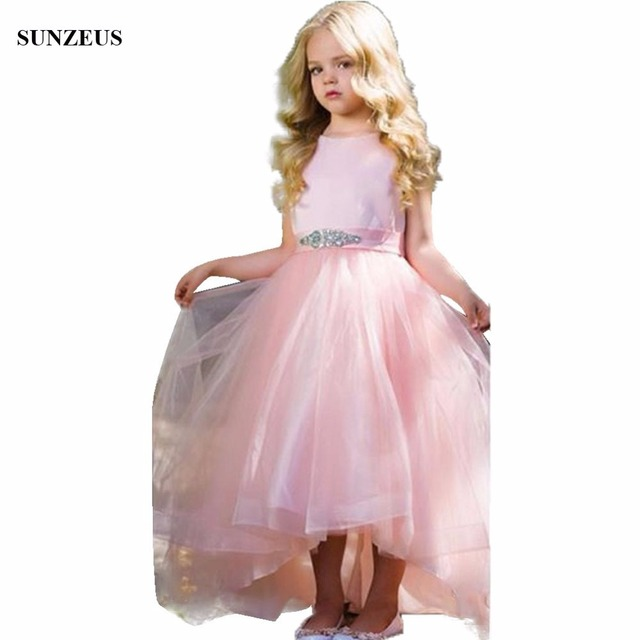 Beautiful Pink Flower Girl Dress Tea Length Tulle Girls Party Gowns ...