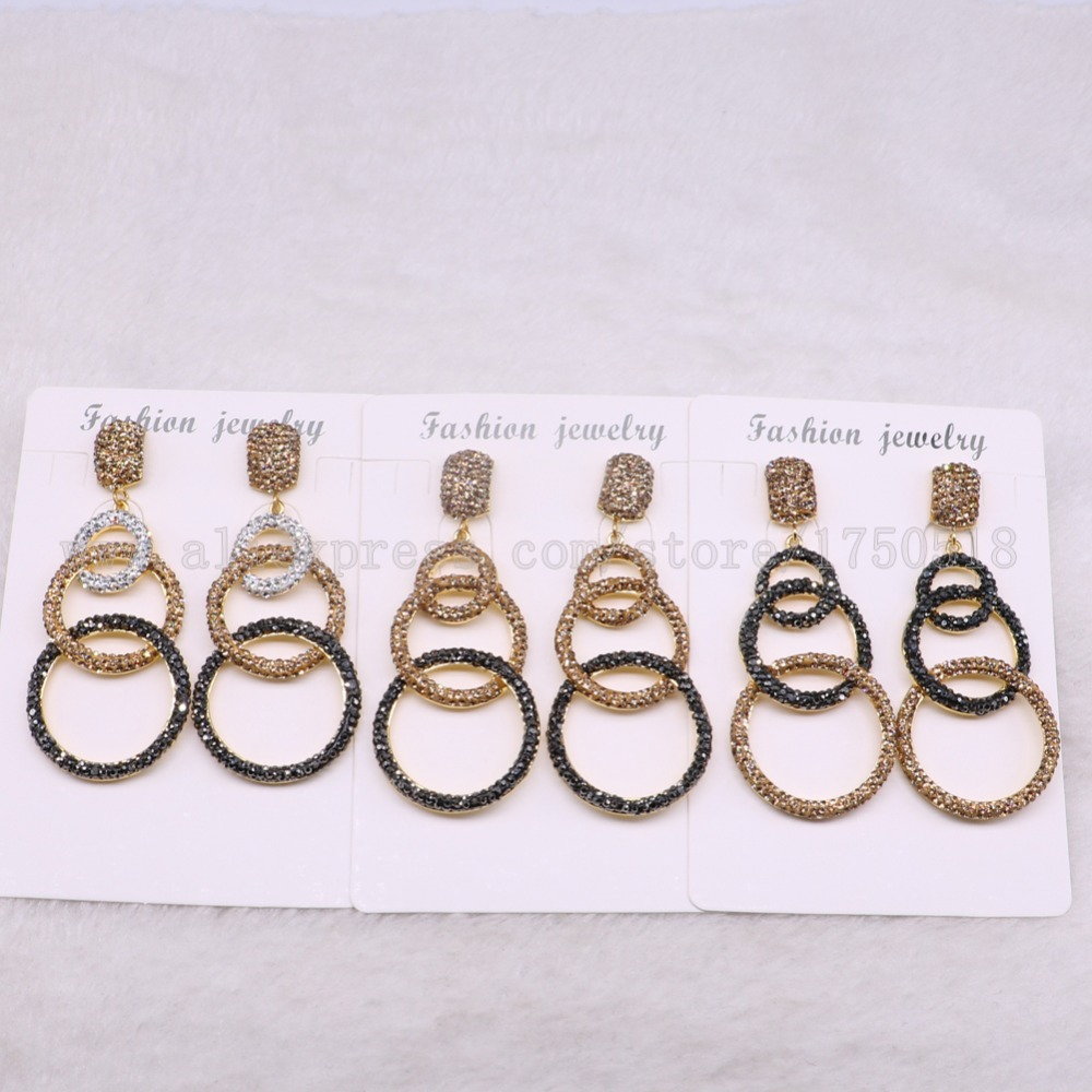 5 pairs dangle earrings 3 circle mix colors wholesale druzy earrings drop earrings Gems stone jewelry