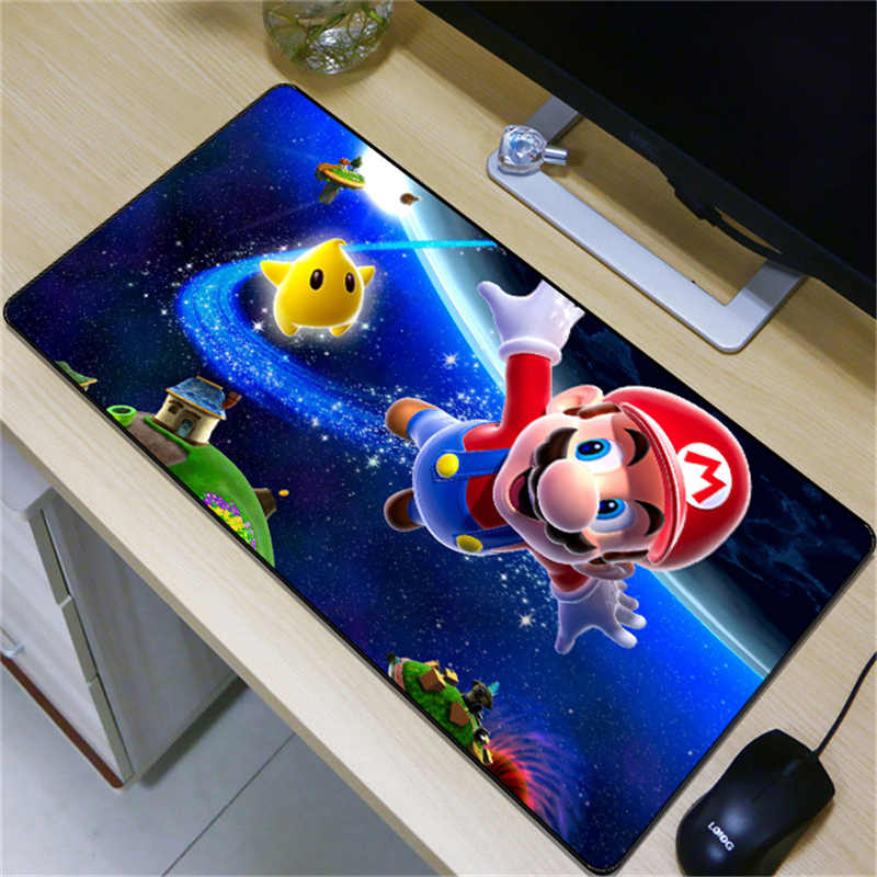 FFFAS 80x40cm Childhood Gaming Mouse Pad Big Mario Mushroom Princess Game Large Table Soft Mousepad Desk Mat for Laptop Notebook