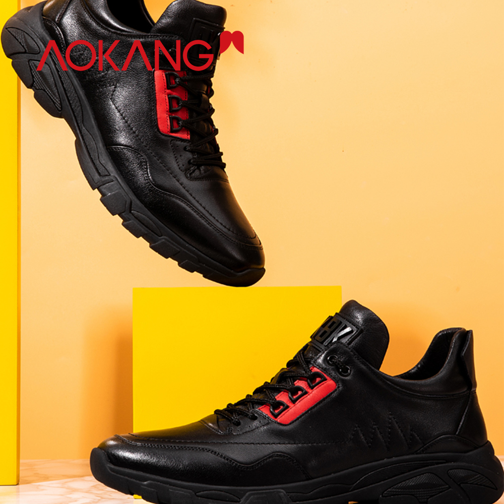 AOKANG 2019 Spring New Arrival Casual shoes men comfortable breathable trainers men genuine leather fashion walking shoes men