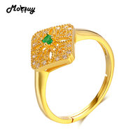 MoBuy MBRI032 Natural Gemstone Emerald Open Ring 925 Sterling Silver Fine Jewelry Yellow Gold Plated Anniversary