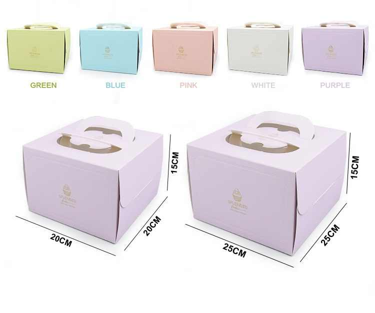 6/8 inch Portable Handle Bakery Boxes European Gold Foil Biscuit Cake Box Mousse Cookies Pastry Packaging Boxes W8554