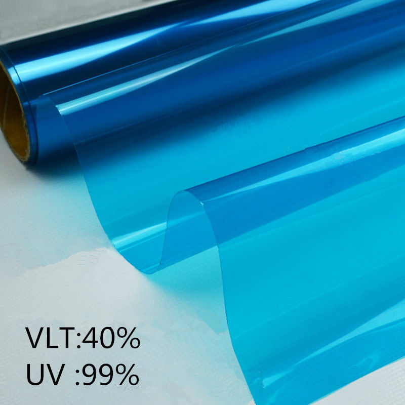 Feuilles décoratives bleues fenêtre teinte Film de fenêtre architecturale 1.52x3 m