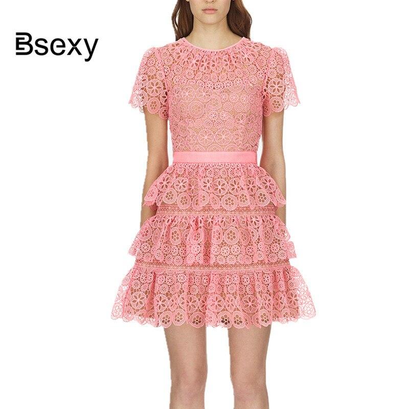 Top qualität Runway Kleid 2018 nette Frauen rosa Spitze kleid ausschnitt Kurzarm Sunflower Kuchen Party Kleid robe ete femme jurken-in Kleider aus Damenbekleidung bei  Gruppe 3