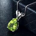2.5ct Natural Peridot 925 Sterling Silver & Pingentes Colares Para As Mulheres De Luxo Gota de Água Colar de Pedras Preciosas Verdes Mulher