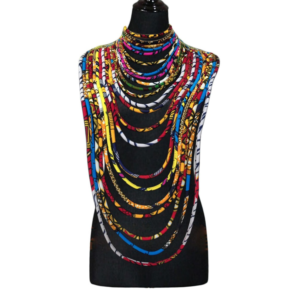 African wax fabric necklace dashiki Ankara necklace colorful rope traditional women jewelry (3)