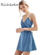 Richkoko Apparel Denim Sexy Blue Plunge Neck Dress Spaghetti Strap Sashes Wrap Dresses Backless Sleeveless Street