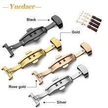 Yuedaer Clique Duas Vezes Borboleta Fivela 12/14/16/18/20 MM Relógio Automático Botão Dobre implantação Fecho Para pulseira straps