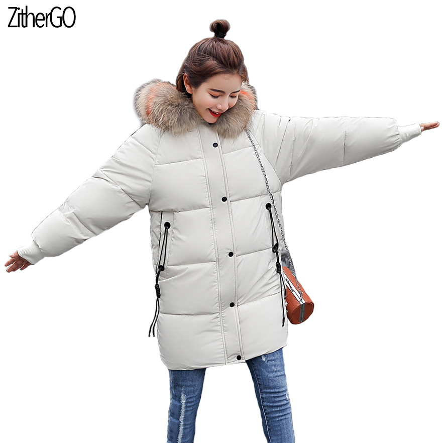2018 Women New high quality Warm Cotton Jackets Hooded with Big Fur collar Coat Solid Loose Outerwear Free Shipping