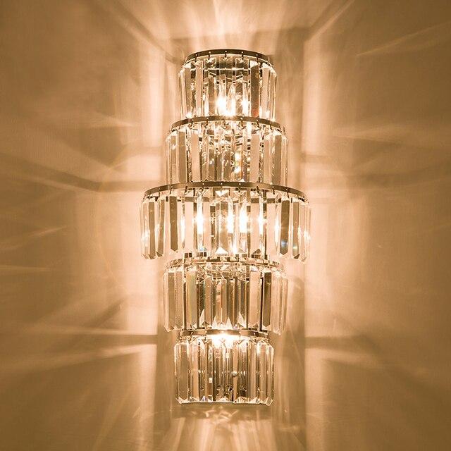 Indoor Lighting Crystal Wall Lamps Long Bar Sconce Hall Large Light Led Metal